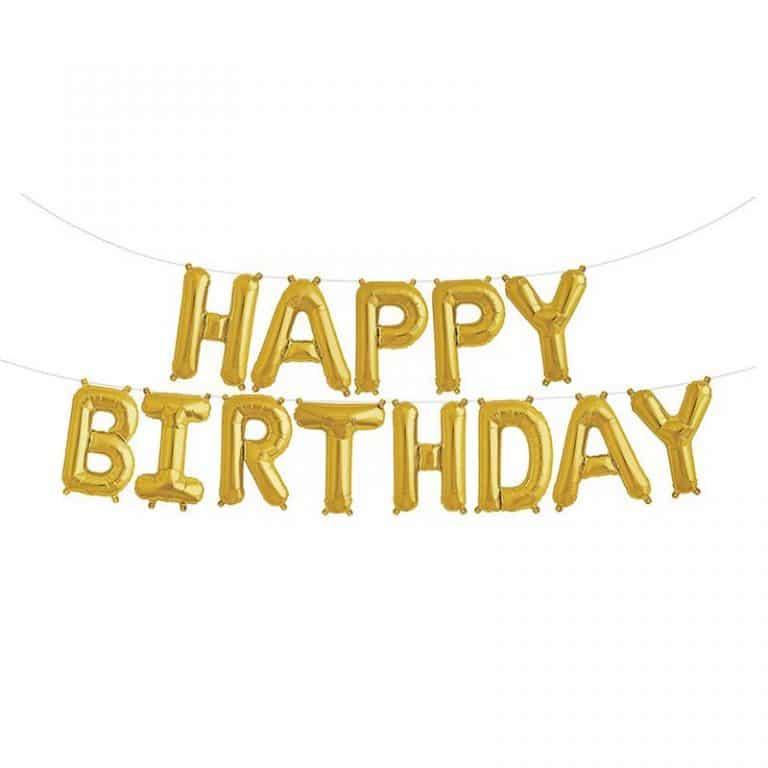 بادکنک فویلی happy birthday – طلایی – ۱۶ اینچ (همراه با روبان)