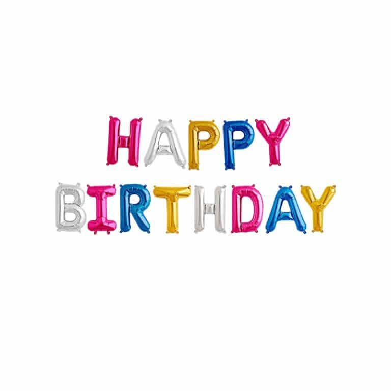 بادکنک فویلی happy birthday – چند رنگ – ۱۶ اینچ ( همراه با روبان )