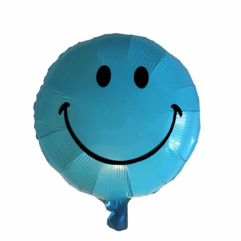بادکنک فویلی آبی طرح smile