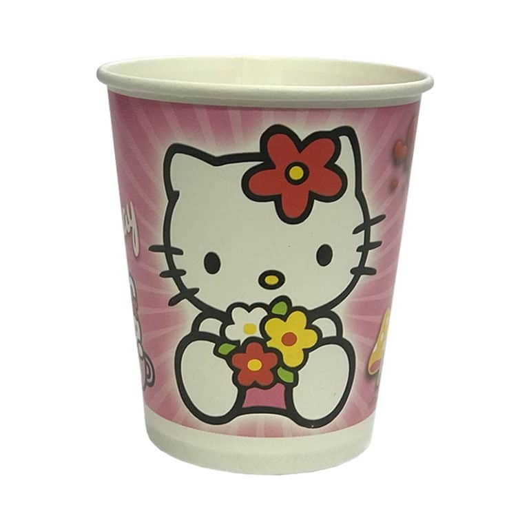 پیش دستی و لیوان تم دخترانه کیتی Kitty (بسته ۲۰ عددی)