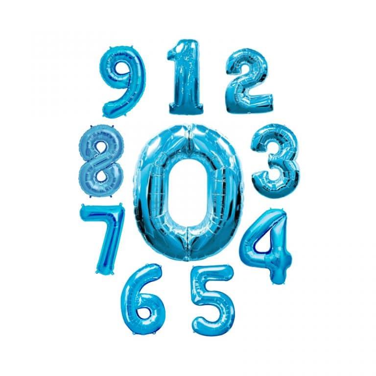 بادکنک فویلی اعداد آبی کم رنگ – ۳۲ اینچ