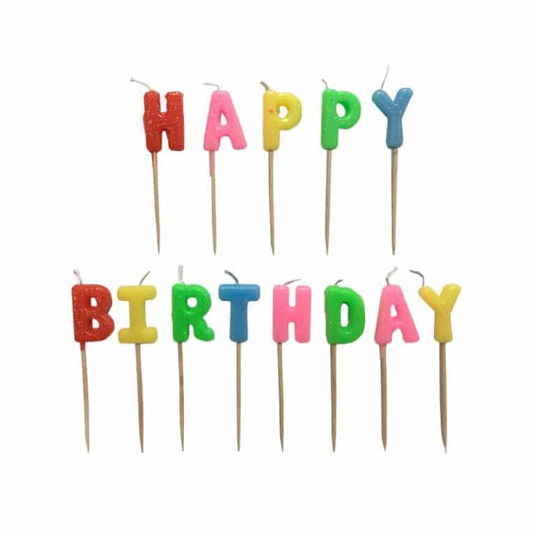 شمع تولد Happy Birthday اکلیلی مدل STC127