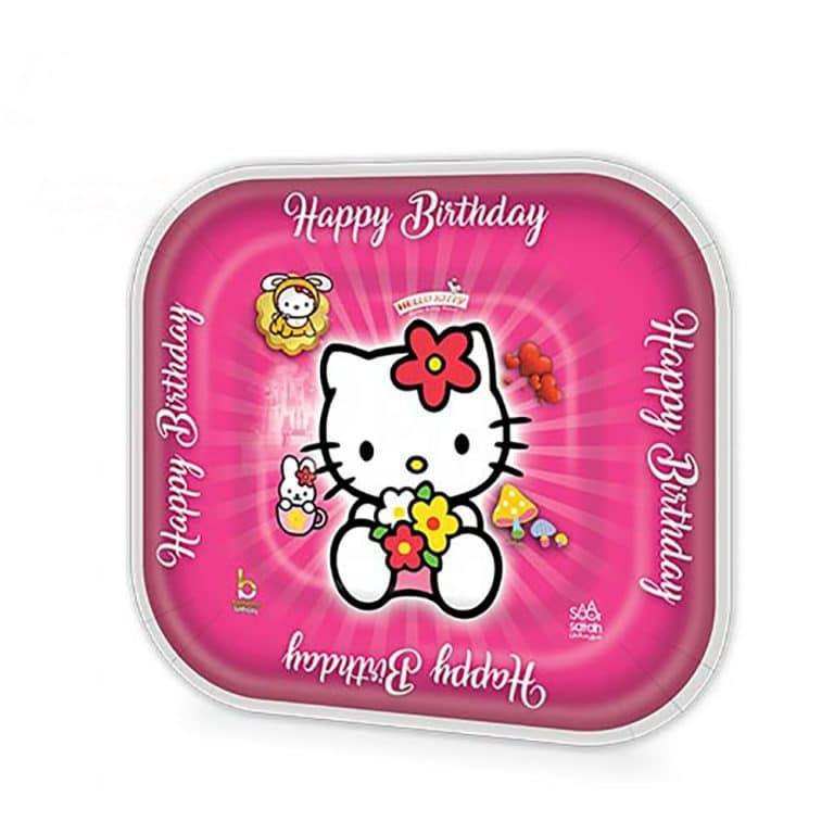 پیش دستی و لیوان تم تولد کیتی Kitty مدل STBT613