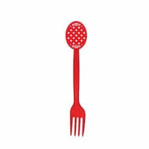 چنگال تم قرمز خال سفید