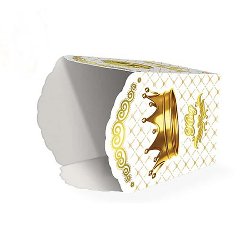 پاپ کورن تم تولد تاج طلایی سفید مدل STBT295