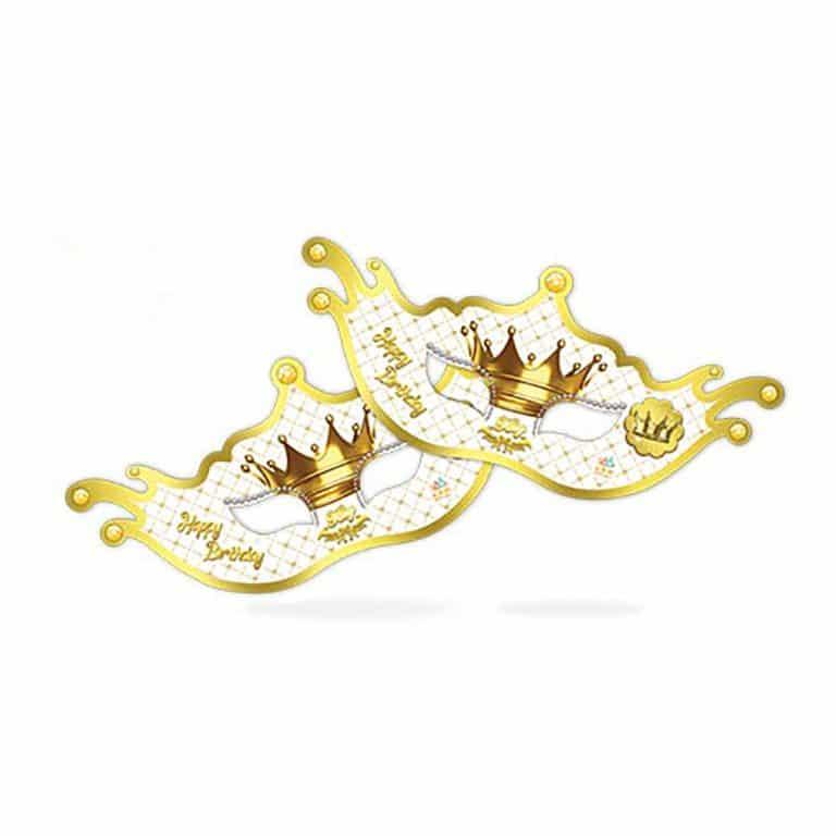 نقاب تم تولد تاج طلایی سفید مدل STBT290