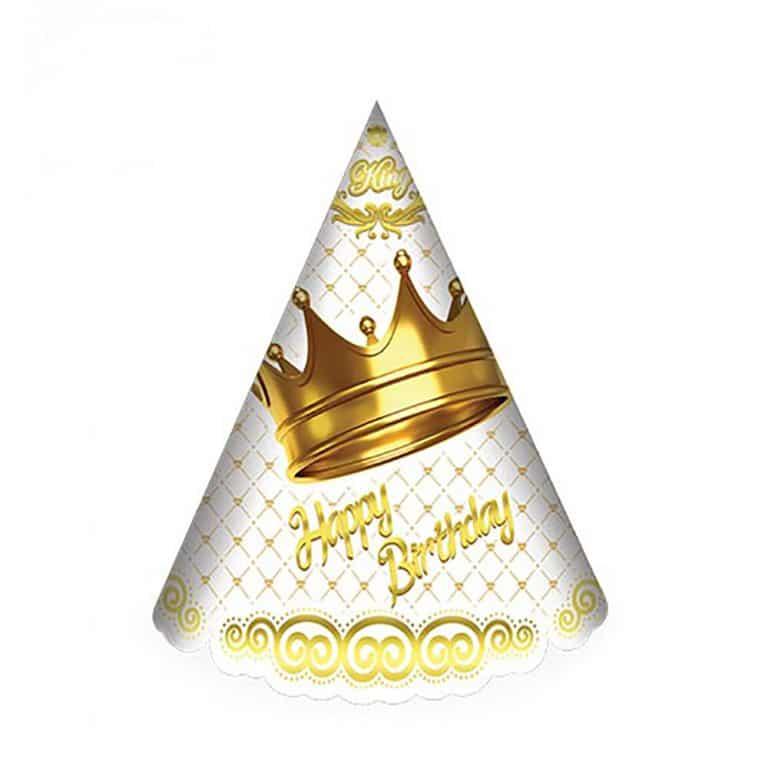 کلاه تم تولد تاج طلایی سفید مدل STBT293