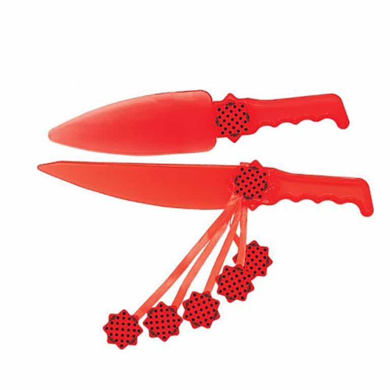 کارد و کفگیر کیک تم تولد قرمز خال مشکی مدل STBT589