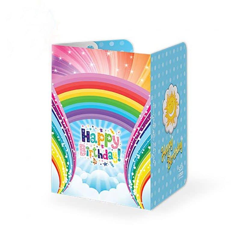 کارت دعوت تم تولد رنگین کمان مدل STBT361