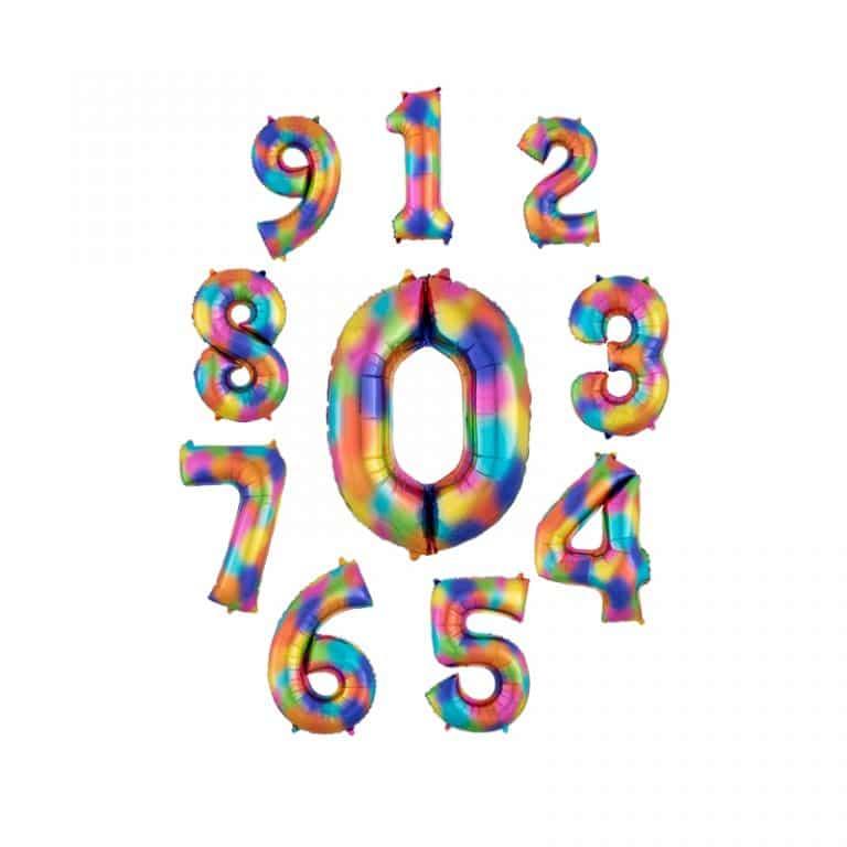 بادکنک فویلی اعداد هفت رنگ مدل STFN126